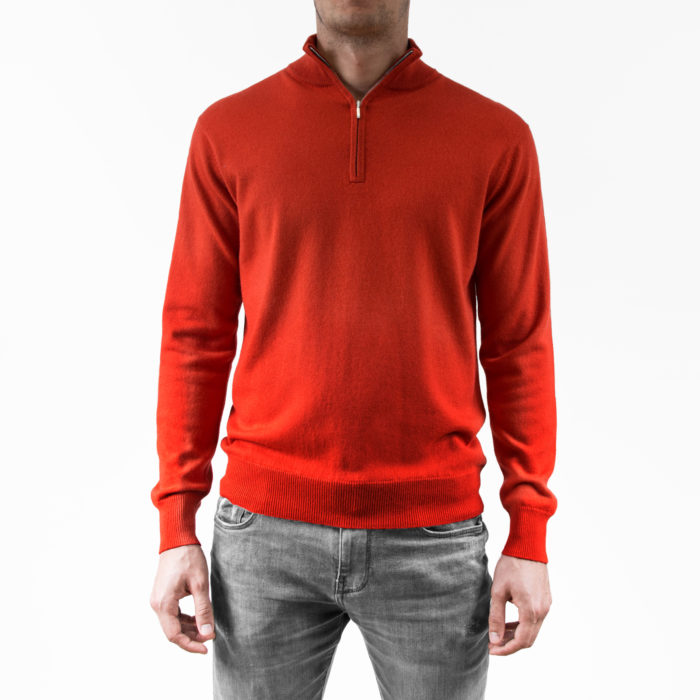Infinite Horizon - Pull Cachemire et Soie - Zip Rouge - Face